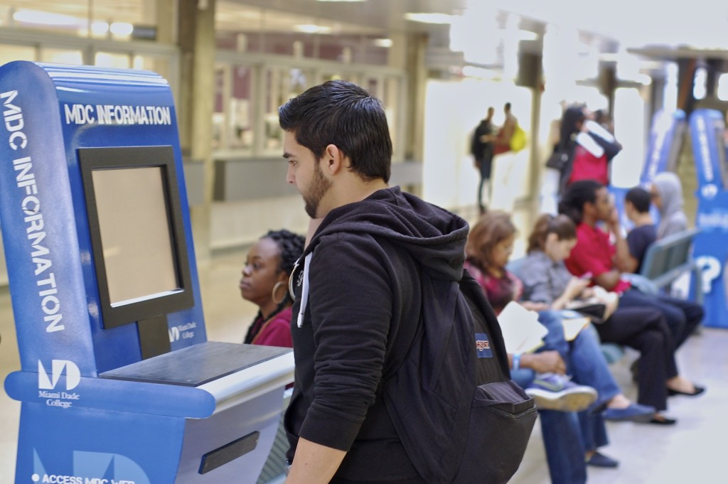 Photo of student using a kiosk machine at North Campus.