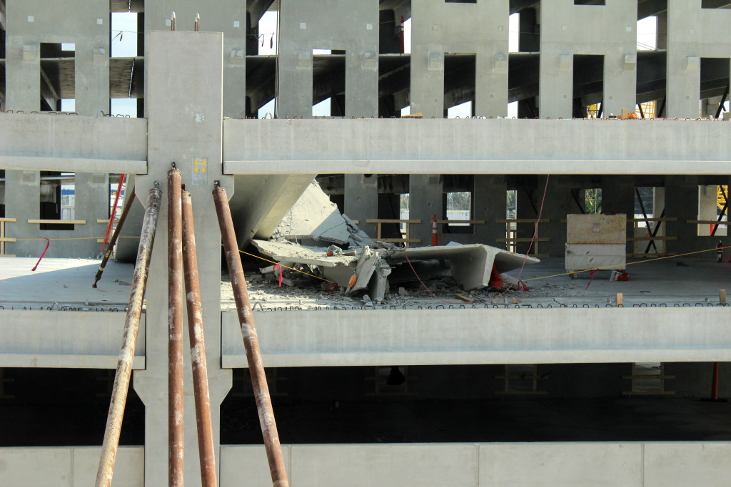Imag of the damage in the parking garage at West Campus.