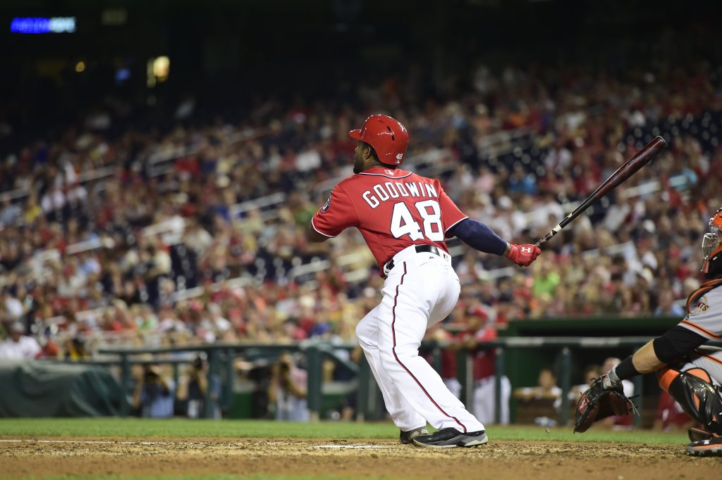 Photo of Brian Goodwin batting for the Washington Nationals.