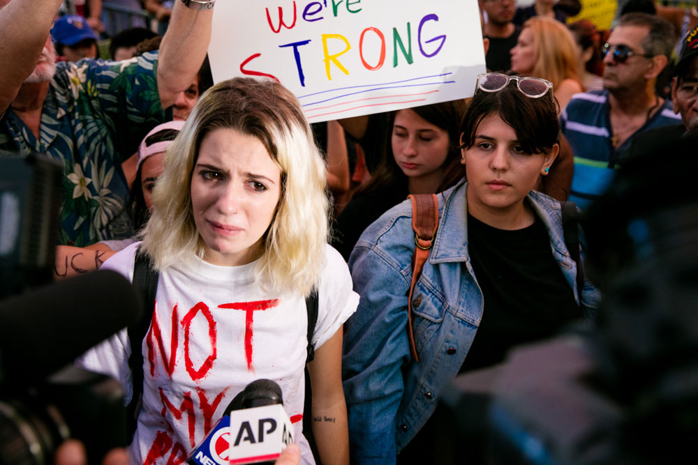Young protester Courtney Abbott expressing her fear over a Donald Trump administration.