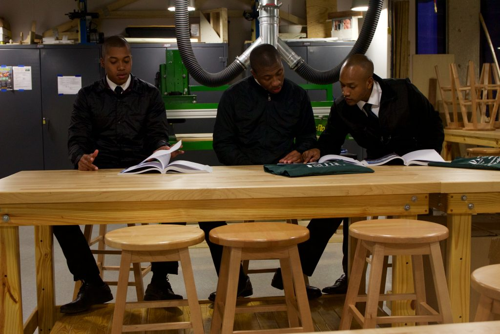 Cadets studying the material.