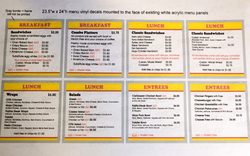 Image of the menu with gluten-free labels.