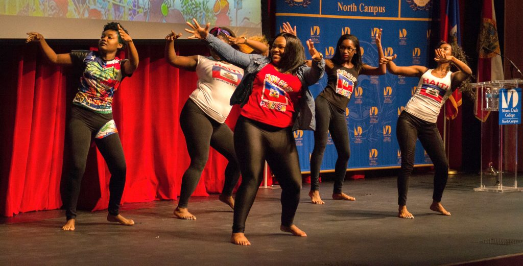 The Haitian IBO Club Dance Group performing at the Haitian Flag Day Celebration.