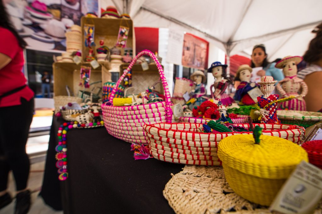 Colorful baskets on display.