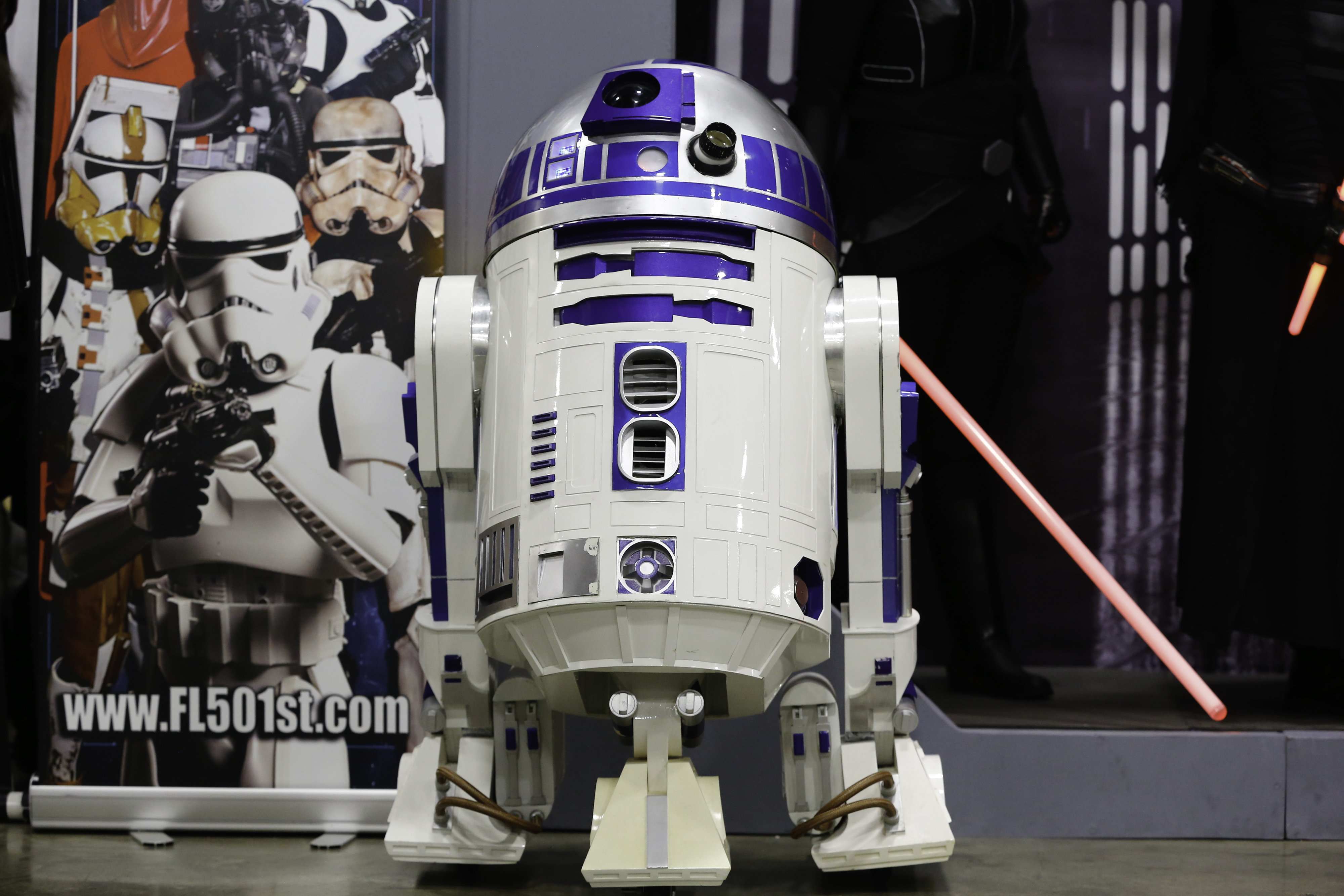 A replica of R2-D2 from Star Wars.