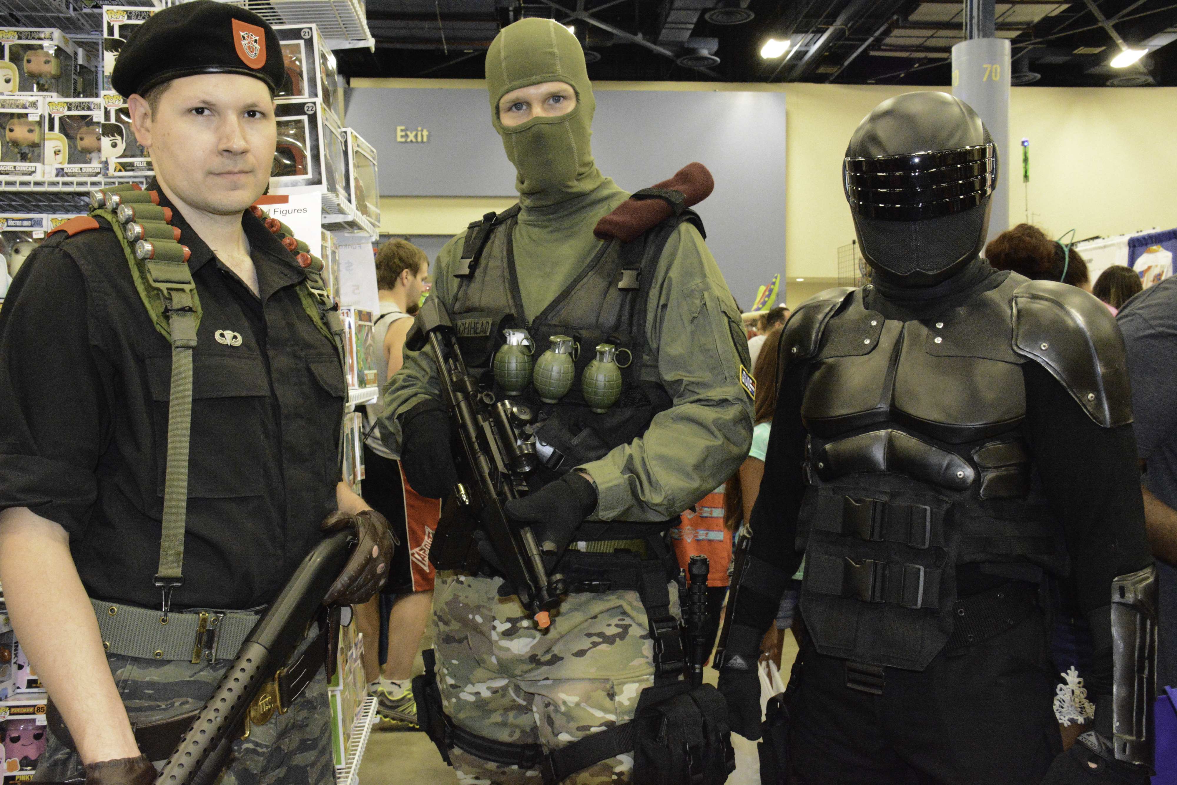 Cosplayers dressed as characters from G.I. Joe.