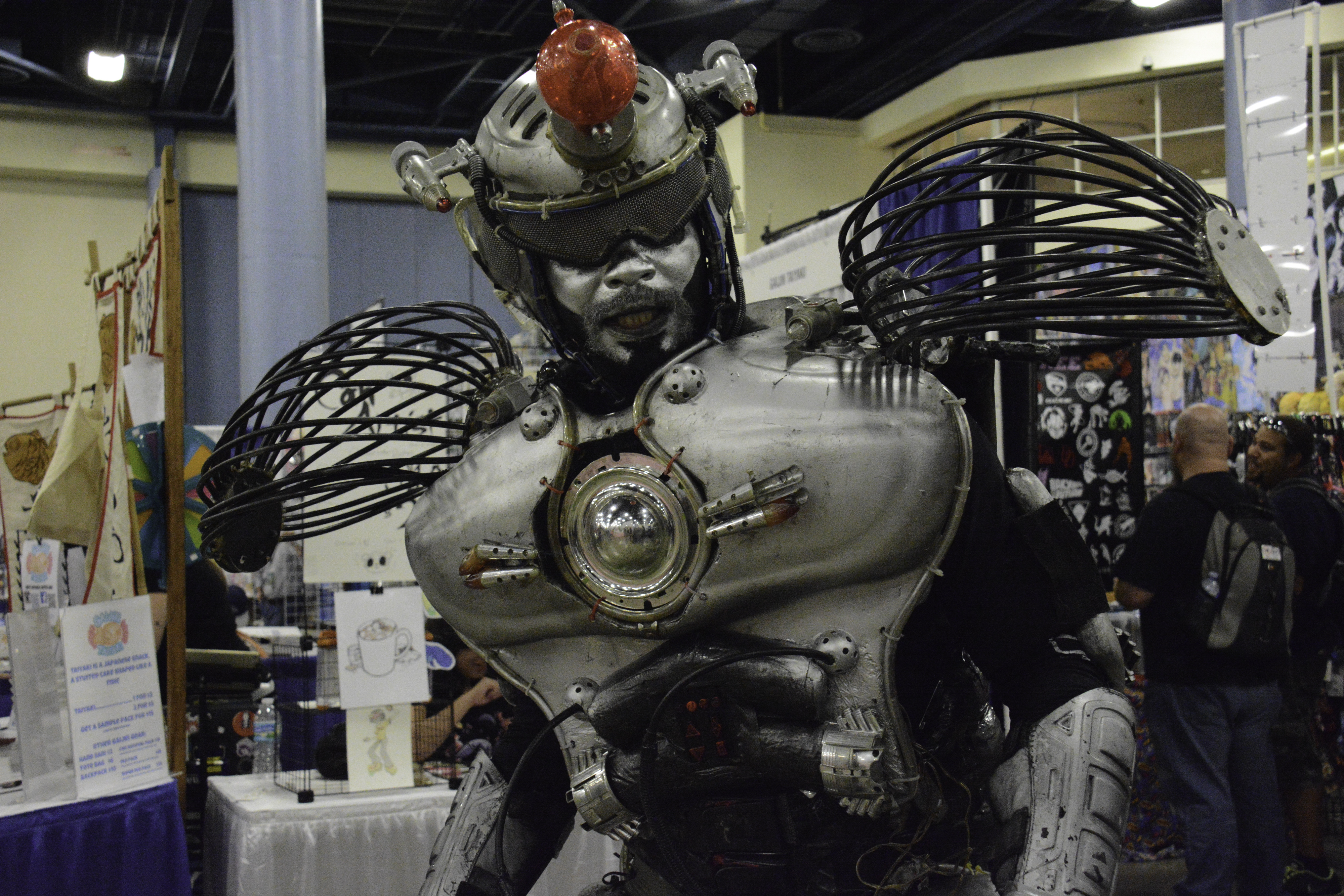 A cosplayer dressed as Strobo from The Killer Robots! Crash and Burn.