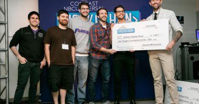 Winners of Hackathon holding their award.