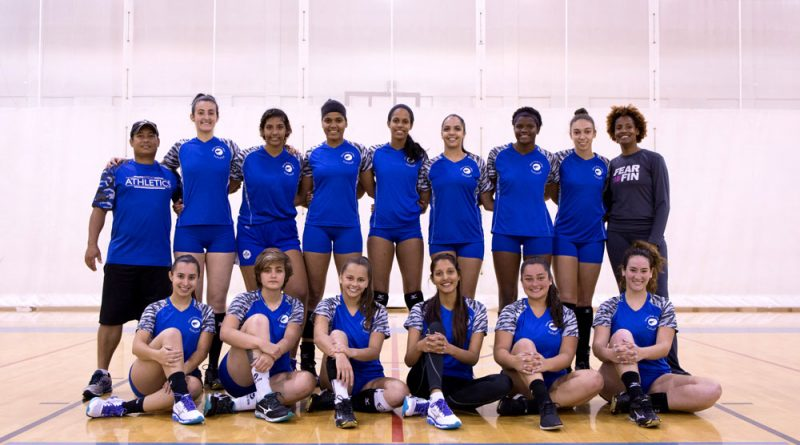 Group photo of the MDC Lady Sharks volleyball team.