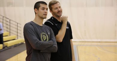 Photo of new assistant coach Matt Jones with assistant coach Ward Griffith.