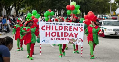 A small parade during Children's Holiday event.