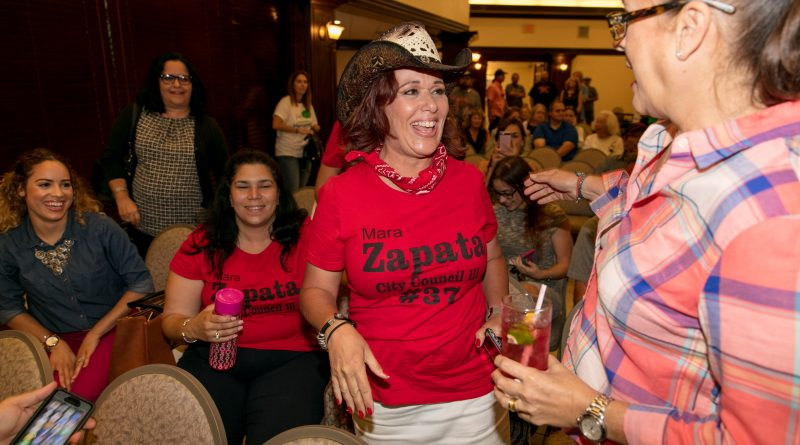 Mara Zapata celebrating her victory.