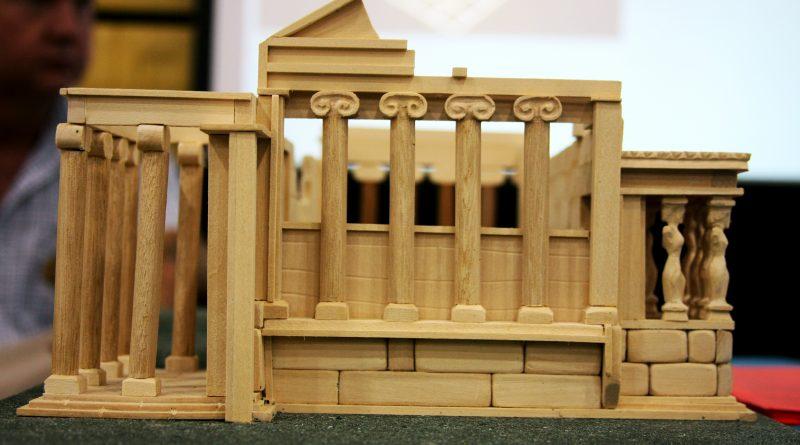A model of a Greek temple.
