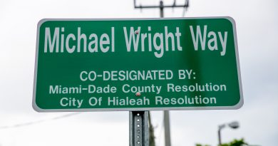 The new street sign with Michael Wright's name on it.