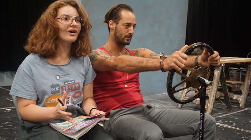 Actors Kristen Hoffman and Enrique Galán during rehearsal.