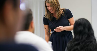 Kristen Rosen Gonzalez at one of her classes discussing about speech.
