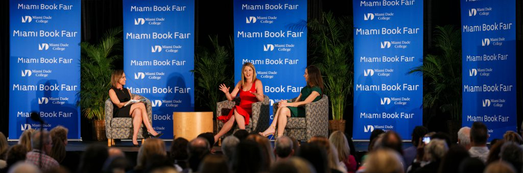 The Bush sisters speaking at the Miami Book Fair.