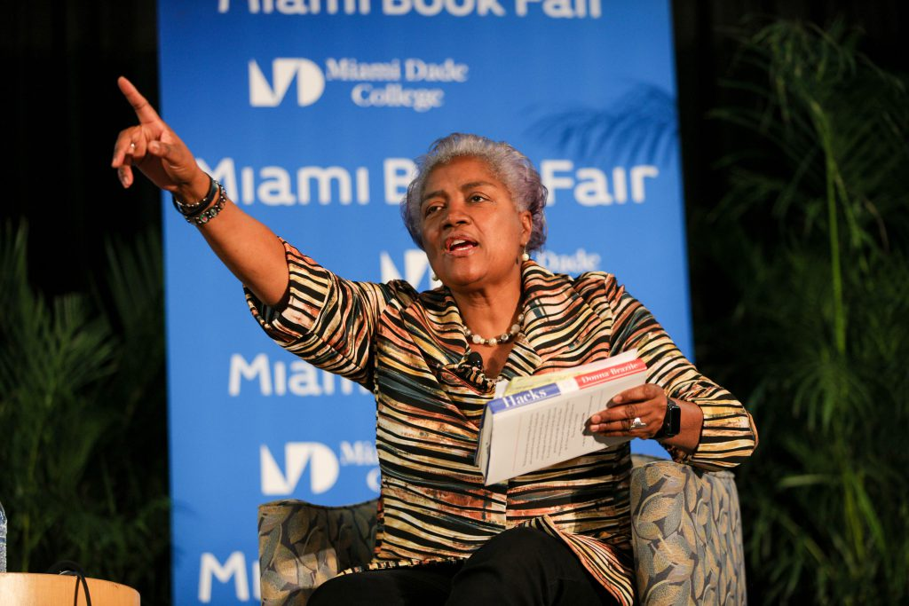 Donna Brazile speaking at the Miami Book Fair.