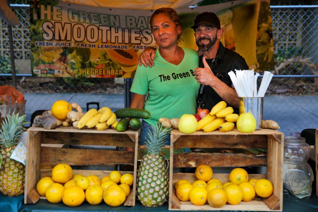 Photo of fruit vendors.
