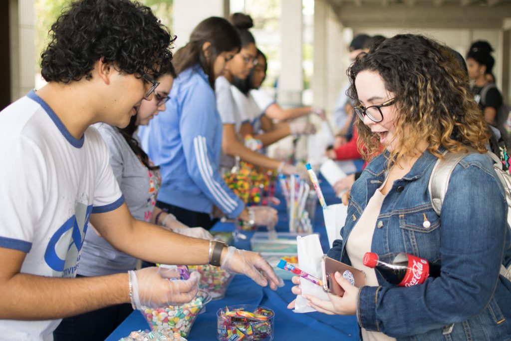 Students at a sugar wonderland event.
