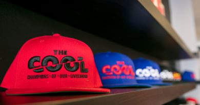 Some hats in the store.