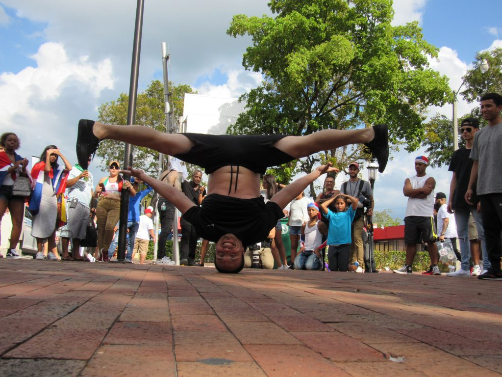 A freestyle dancer performing at Calle Ocho Festival.