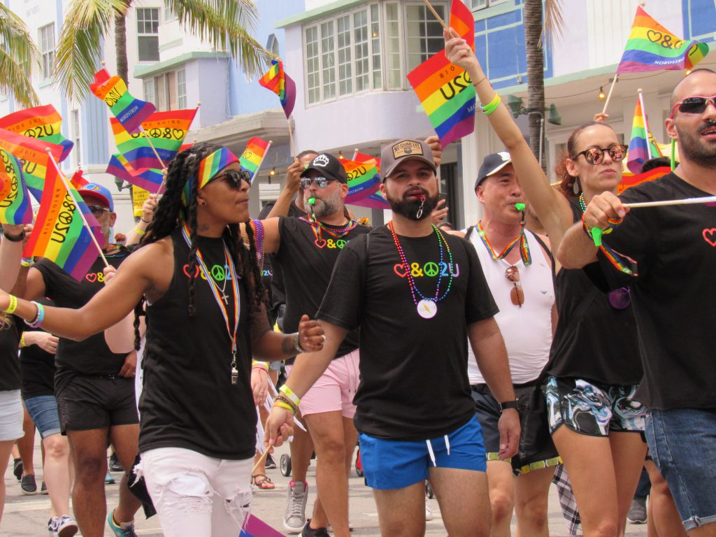 People marching at the Pride Parade.