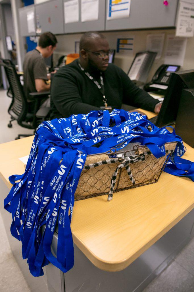 Basket of lanyards at Student Life.