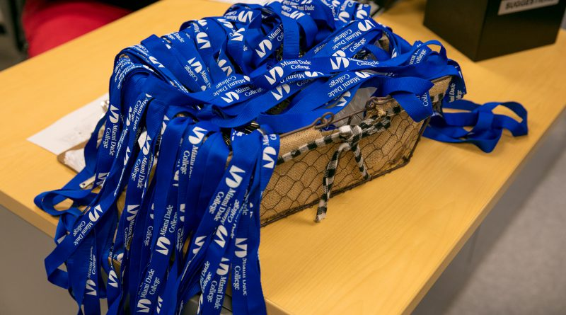 Basket full of lanyards.