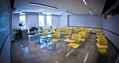 Empty Classroom in Building 8 of Wolfson Campus where Adjunct Professors work