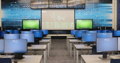 Interior of the cybersecurity classroom.