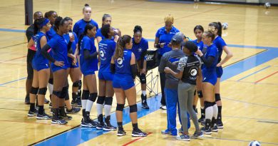 The volleyball team on the court.