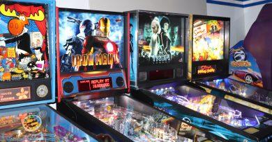Pinball games at arcades.