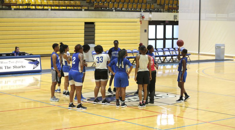 Lady Sharks basketball team during practice.