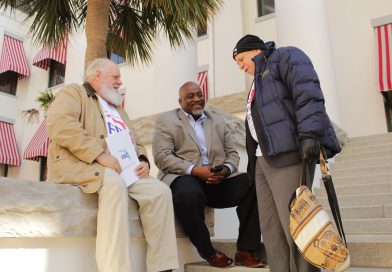 "Meade outside the Florida Capitol speaking to ""returning citizens."""