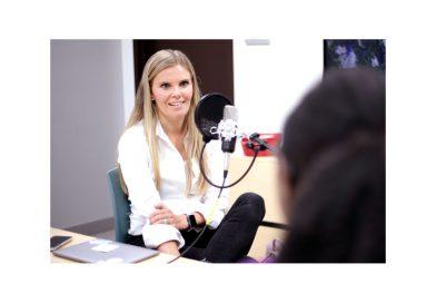 Johanna Mikkola being interviewed.