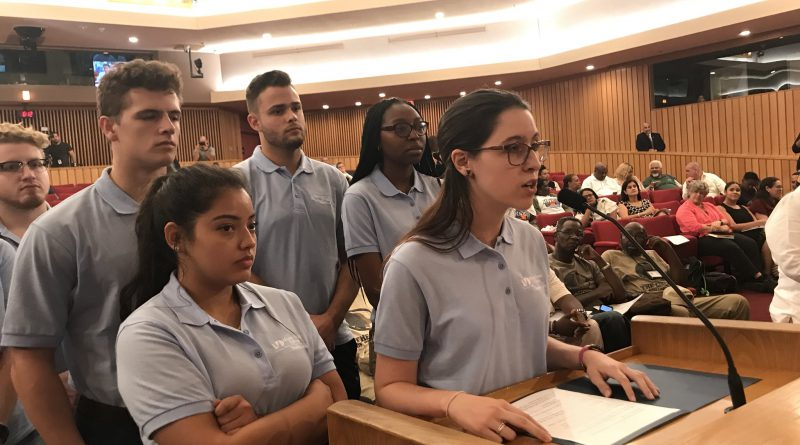 MDC Students speaking to Miami-Dade County Commission on early voting sites.