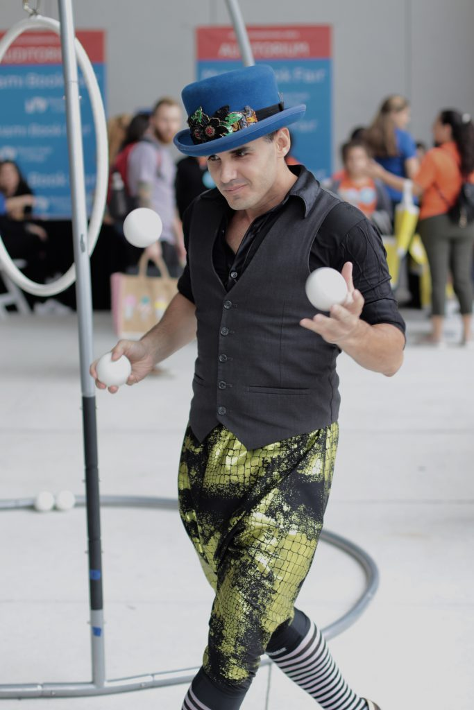 A juggler performing.