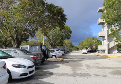 A view of the parking lot.