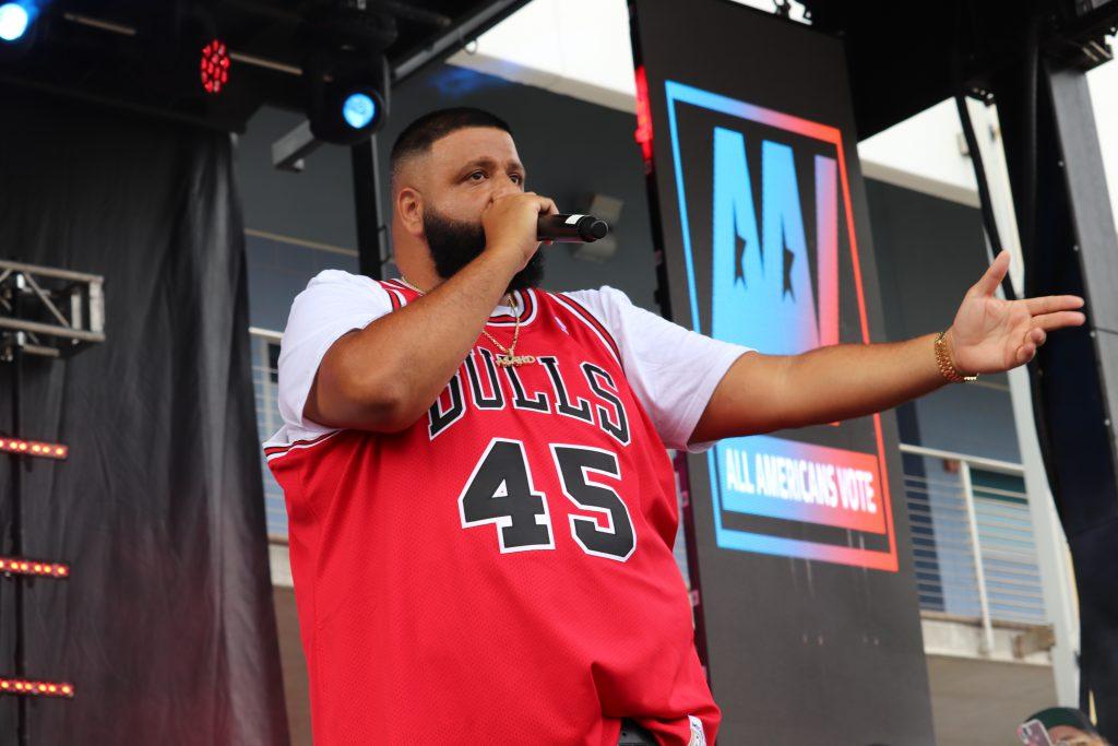 DJ Khaled on stage.