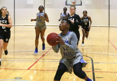 Daliyah Brown on the court against ASA College.