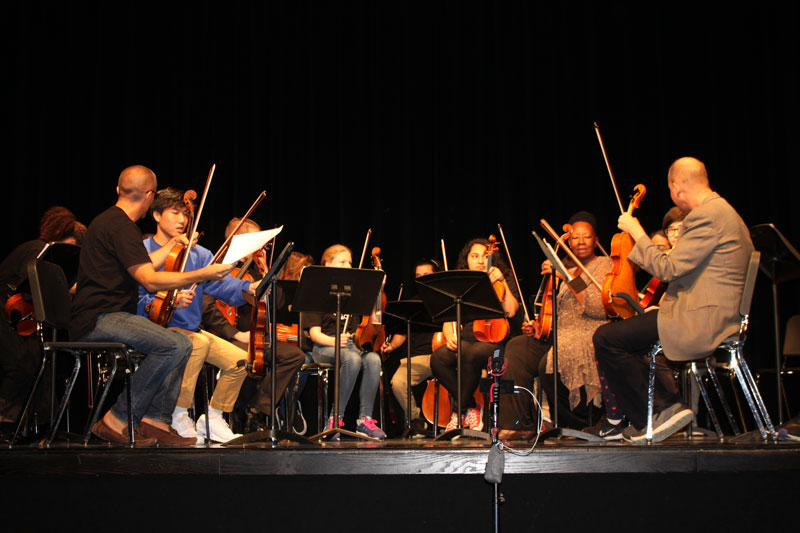NWSA's Viola Ensemble performing on stage.