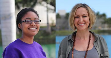 Photos of student Djaina Dervil and professor Jessica AuBuchon.