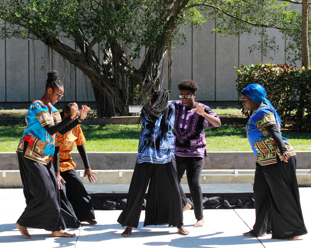 North Campus students performing traditional African dance.