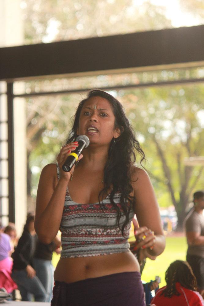 Student reciting a poem.