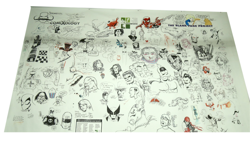 Drawings of different comic book characters hanging on the wall.