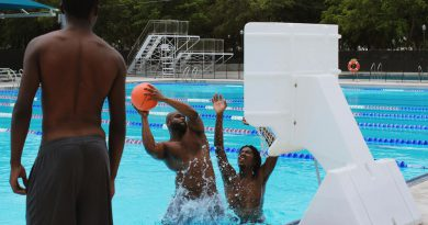 Students playing basketball in the pool.