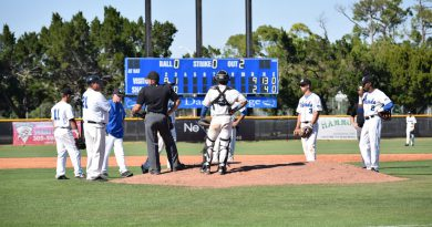 The baseball team on the pitcher's mound.
