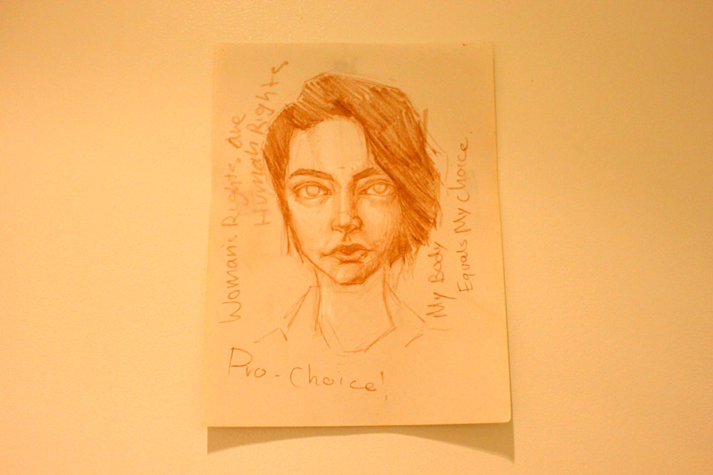 A drawing of a face by a student