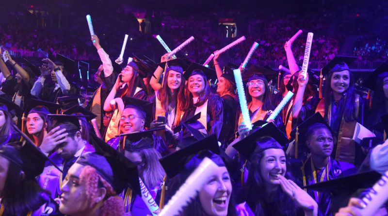 Students excited at commencement.